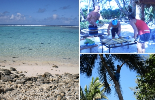 The little Muri island, firing up the cooker, and our intrepid tree-climber