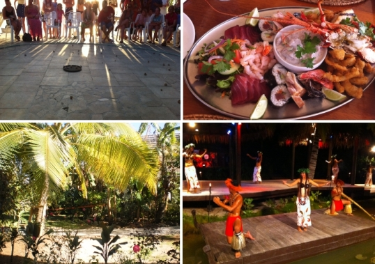 Crab racing at the resort; Trader Jack's seafood platter, show at Te Vara Nui, the view from our garden room